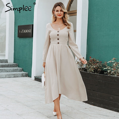 Sexy o-neck long party dress Single breasted three quarter sleeve cotton dress Casual streetwear work wear office dress