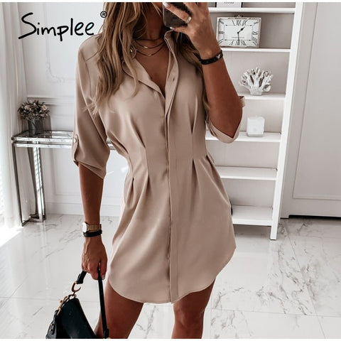 Elegant solid short collar shirt dress women t shirt dress Waist down female dress vestidos Vintage summer casual dress