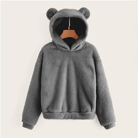 Preppy Lovely With Bears Ears Solid Teddy Hoodie Pullovers Sweatshirt Autumn Women Campus Casual Sweatshirts