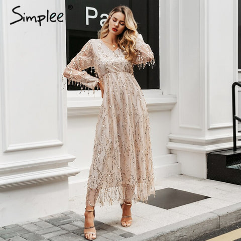 Sexy v-neck evening women maxi dress Elegant mesh long sleeve sequin night dress autumn lady plus size party dress