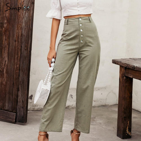 Simplee High waist casual women pants Summer spring solid green trousers Wide leg work wear office lady ruffles vintage pants