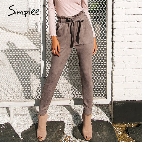 Simplee Suede high waist pencil pants capris Women bottom sash streetwear casual pants 2018 Autumn chic black winter trousers
