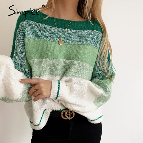 autumn winter 2020 stripe women sweater oversize knitwear pullovers sweaters green casual female knitted sweater jumper