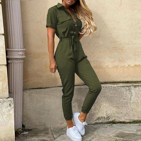 Women Summer Deep V Neck Short Sleeve Button Shirt Overalls Solid Jumpsuit Office Lady One Piece Romper Belt