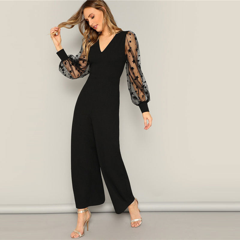 Black Contrast Mesh Galaxy Print Sleeve Top And Wide Leg Pants Jumpsuits Women Elegant V neck OL Work Plain Jumpsuit