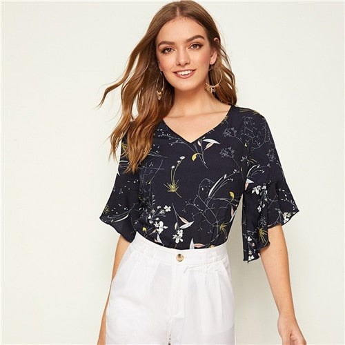 White V-neck Botanical Print Flounce Sleeve Ruffle Cuff Top Women 2020 Summer Ladies Boho Casual Tops and Blouses