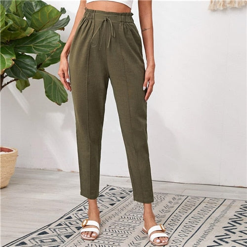 Knotted Paperbag Waist Cigarette Pants Women 2020 Autumn Solid Tied Seam Front Casual Pants Ladies Cropped Trousers
