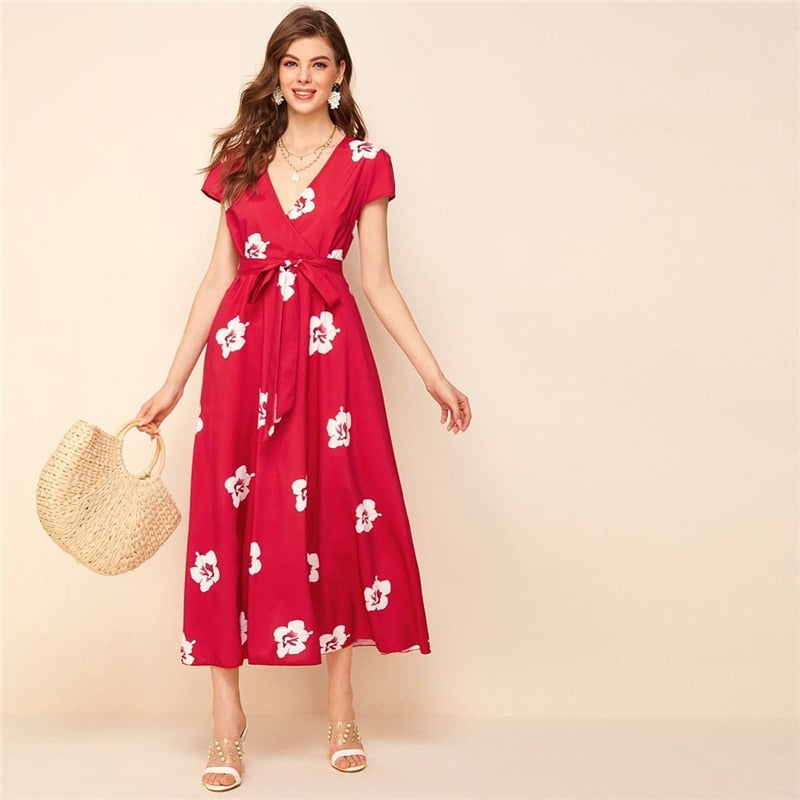 Red Surplice Neck Belted Floral Print Dress Women Summer Short Sleeve High Waist A Line Elegant Long Dresses