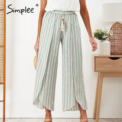 Sexy striped casual tassel women pants High waist baggy split spring summer pants female Ladies wide leg trousers bottom