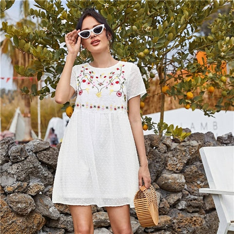 Black Floral Embroidery Swiss Dot Smock Dress Women Summer High Waist Short Sleeve Boho Cute Short Flared Chiffon Dresses