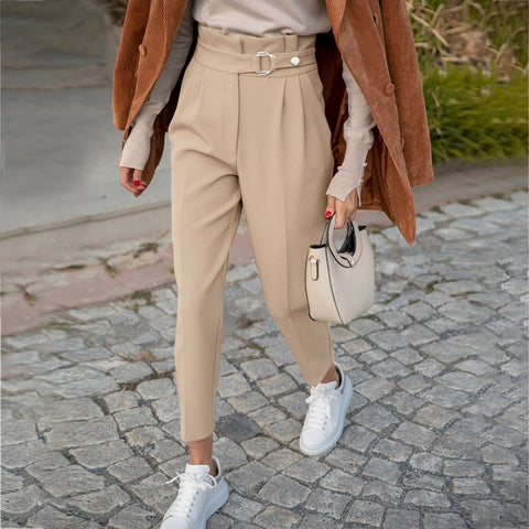 fashion women casual pant Autumn high waist ruffled trousers Chic streetwear  belt decoration ladies work pants 2020