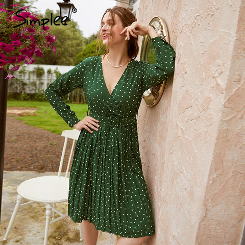 Sexy v-neck solid party dress Lantern single breasted a-line midi dress Green ribbon ladies streetwear long sleeve dress