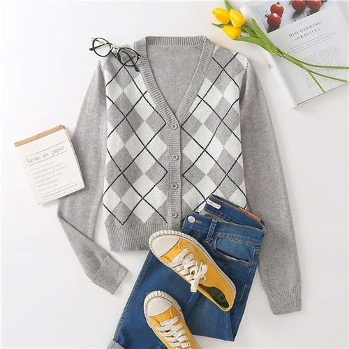 Navy Blue Argyle Print Button Through Cardigan Women Autumn V Neck Classic Coat Plaid Casual Crop Outerwear Cardigans