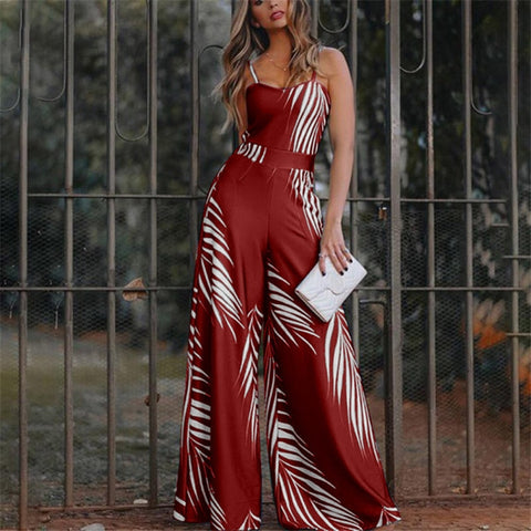 Summer New Women's Fashion Long Sleeveless Pants Suspender Trousers Jumpsuit Women's Printed Loose Casual Jumpsuits S-3Xl