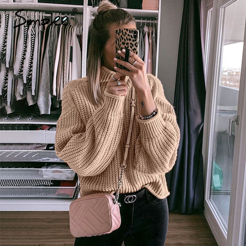 Winter Pullovers Knitted Sweater Women Casual Sweaters Jumper Solid Khaki Female Turtleneck Sweater Knitwear Pull Femme