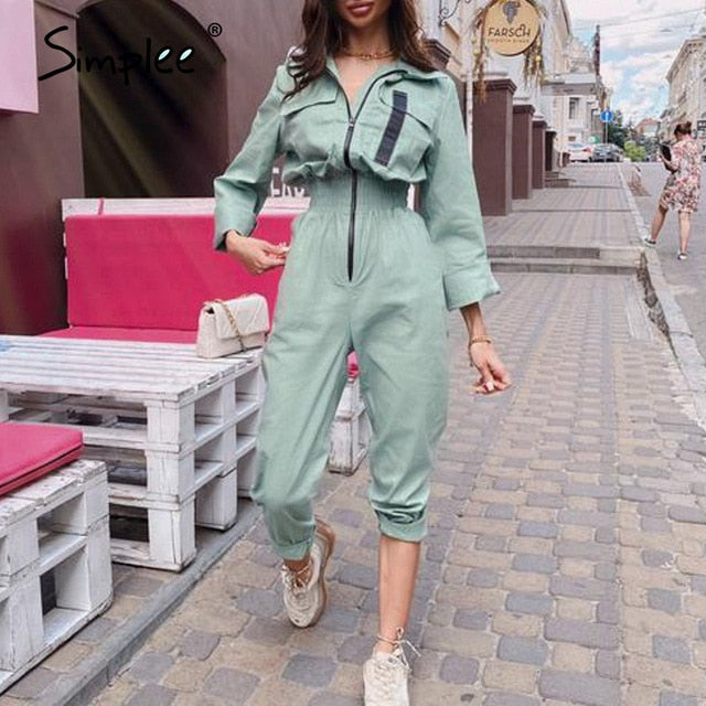 Solid color zipper women's Jumpsuit High waist slim fit women's long  Bodysuit Fit Street women's autumn Jumpsuit 2020