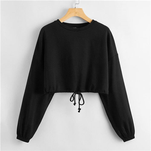 Drop Shoulder Drawstring Hem Crop Pullover Women Round Neck Long Sleeve Autumn Casual Solid Cute Sweatshirts