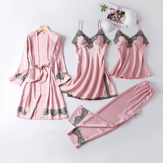 New 4 Pieces Women Pajamas Sets Faux Silk Pajamas Sleepwear Sets Elegant Noble Sexy Lace Fashion Spring Autumn Homewear V-Neck