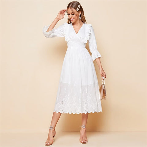 White V-neck Flounce Sleeve Ruffle Detail Schiffy Dress Women Autumn A Line High Waist Abaya Boho Long Dresses