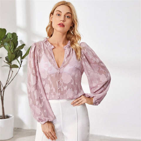 Ruffle Trim Buttoned Front Appliques Mesh Top Without Bra Women Autumn Bishop Sleeve Notched Sheer Tops Elegant Blouses