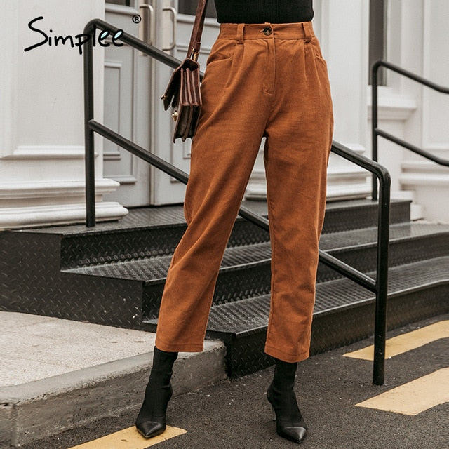 Simplee Casual crimping women corduroy pants Bottoms little flexible female autumn pencil pants Middle waist ladies trousers