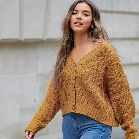 Ginger Drop Shoulder V-neck Cable Knit Cardigan Women Autumn Button Front V Neck Solid Coat Casual Outerwear Cardigans