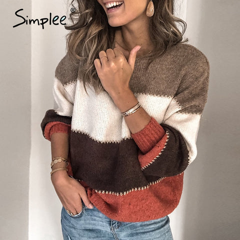Casual stripe women's sweater Loose contrast color o-neck pullover Drop shoulder sleeves winter knitted sweater 2020