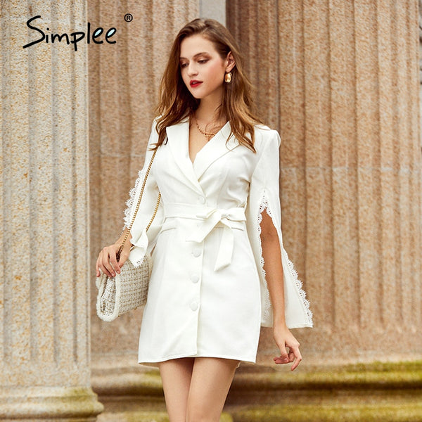 Elegant white button belt women dress Split sleeves lace lapel mini dress Office autumn winter short dress ladies 2020