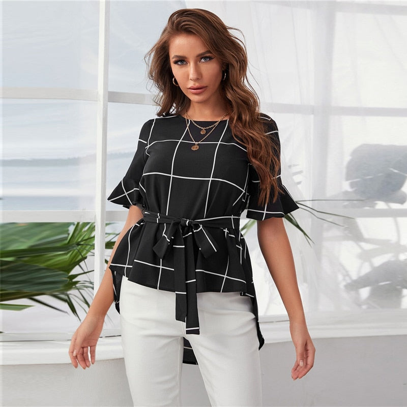 Black Flounce Sleeve Dip Hem Self Belted Grid Top Women Summer Round Neck Plaid Casual Womens Tops and Blouses
