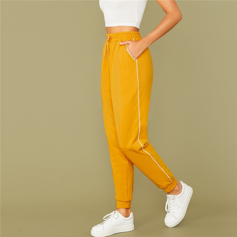 Bright Yellow Drawstring Waist Contrast Piping Carrot Pants Women Autumn Active Wear High Waist Stretchy Casual Trousers