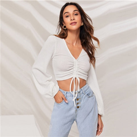 Lantern Sleeve Drawstring Ruched Front Slim Fit Crop Top Women Autumn V neck Solid Casual Rib-Knit T-shirt Tops