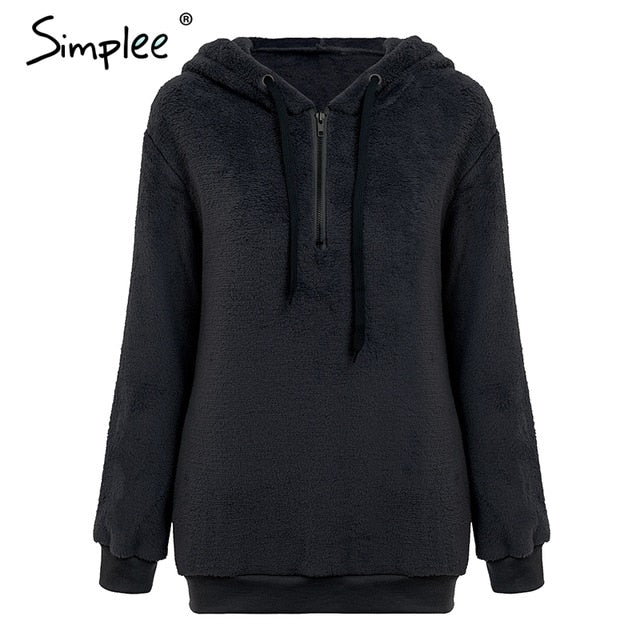 Hooded coral fleece women pullover sweatshirt women Zipper warm solid long sleeve hoodies Casual loose plus size coats