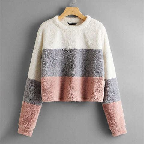 Drop Shoulder Colorblock Teddy Pullover Women 2020 Autumn Winter Long Sleeve Round Neck Casual Cute Sweatshirts