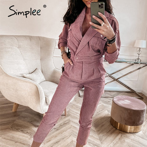 Elegant pink autumn winter female jumpsuits Two pieces office lady long sleeve women suits Vintage women jacket button
