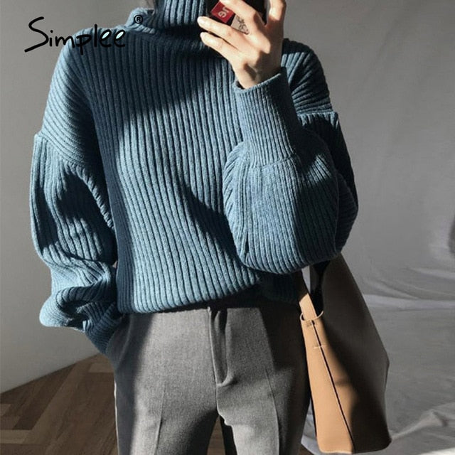 Casual winter knitted pullover women's sweater Soft Lantern Sleeve loose sweater White high street warm sweater 2020
