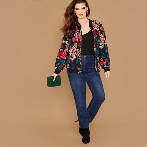 Plus Size Floral Print Zipper Up Bomber Jacket Women Autumn Long Sleeve Stand Collar Coat Cute Outwear Casual Plus Jackets