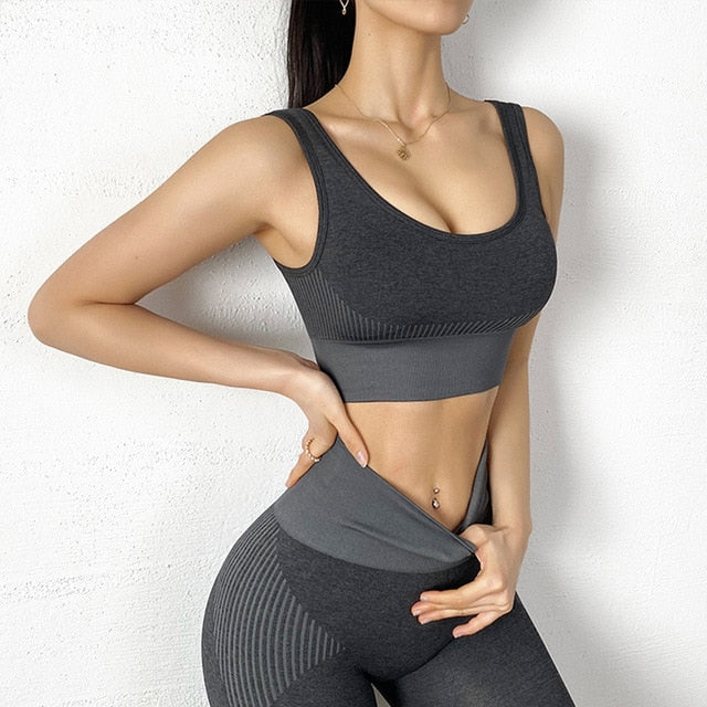 2 Piece Set Women Workout Clothes Set Solid Seamless Women Gym Clothing Athletic Sports Suit Women Sports Bra and Leggings Set