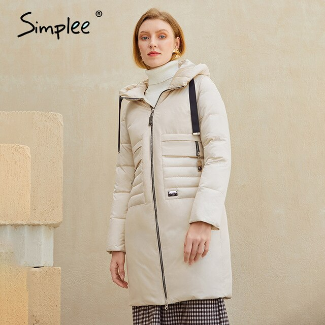 Simplee Warm elegant women coat jacket with hat Casual new design tassel parka Fashion female winter windproof jacket white 2020