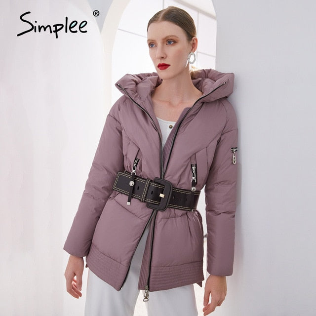 Simplee Casual hooded women winter coat parka Zipper pocket padded jacket coat ladies 2020 New brand cotton warm coat female