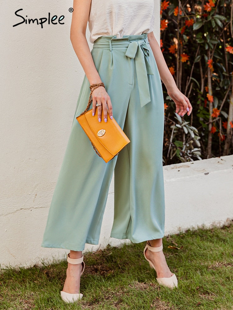 Casual high waist belt pleated trousers Stylish loose pants  womnan autumn winter Ladies sash green wide leg pants 2020