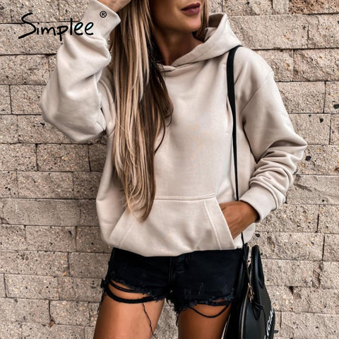 Fashionable pink women's Sweatshirt drop shoulder sleeve Hoodie Casual autumn winter Pullover Autumn winter 2020 new