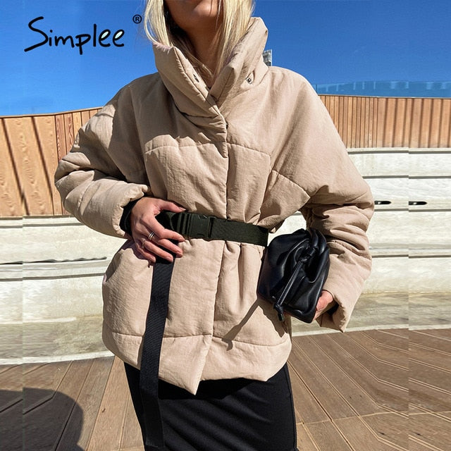 Simplee Warm winter coat women parkas Casual sash new design with pocket overcoat female Stand collar khaki short jackets coats