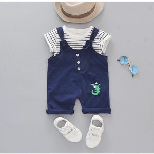 Crocodile Baby Dungarees with striped T Shirt