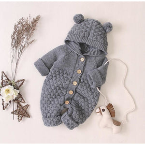 Grey Knitted Unisex Baby Pram suit