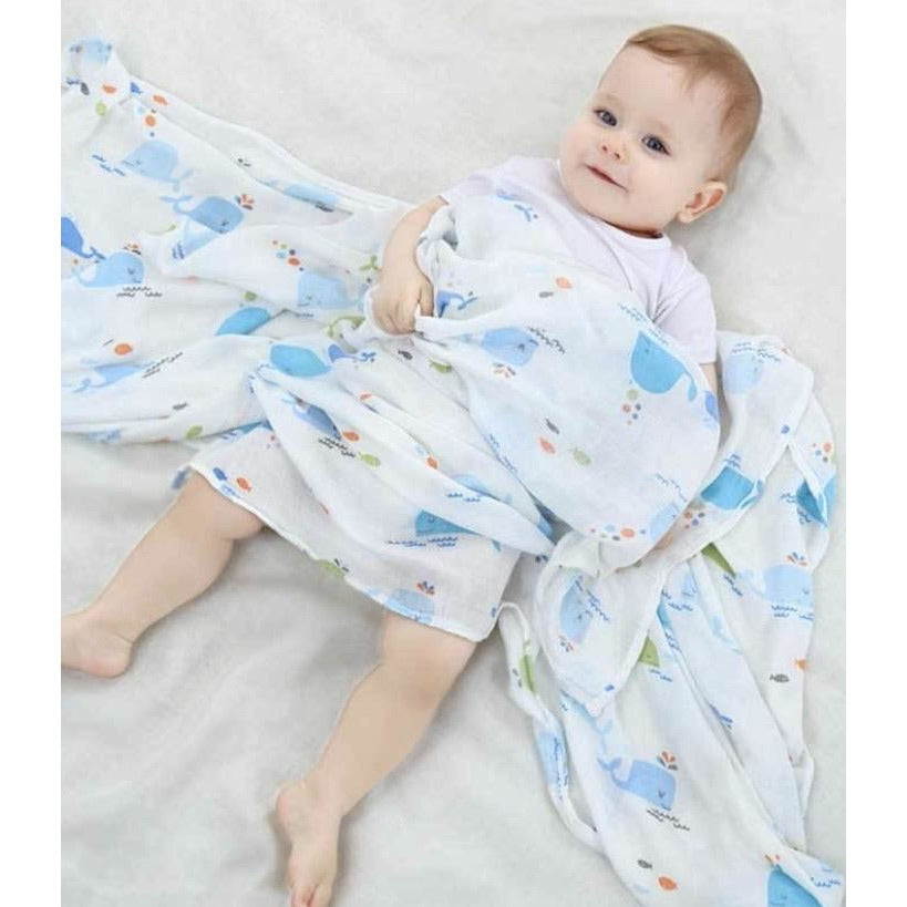Large Baby Muslin Swaddle | Whale Design
