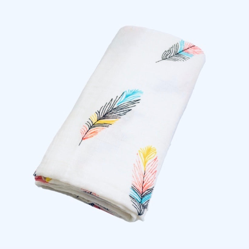 Large Baby Muslin Swaddle | Feather Design