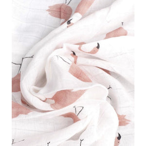 Large Muslin Swaddle | Pink Flamingo Design