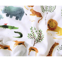 Load image into Gallery viewer, Large Baby Muslin Swaddle | Safari Design