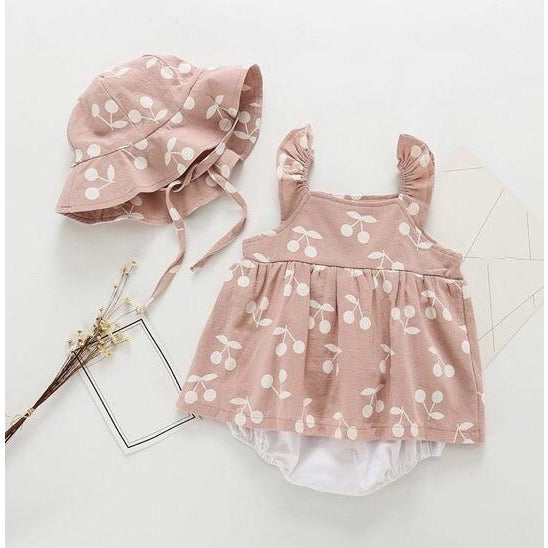 Cherry Print Pink Dress & Hat