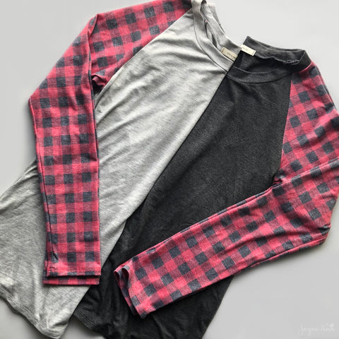 Buffalo Plaid Raglan Top
